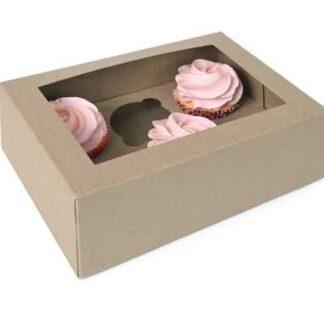 cupcake doosje - Kraft 6 incl tray en venster