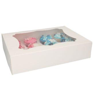 Cupcake doosje - Wit 12 (incl tray en venster)
