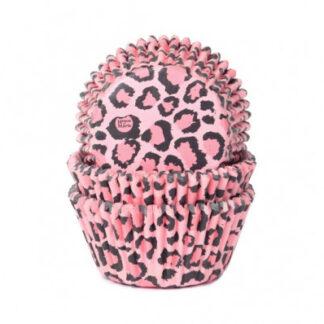 HOM - Backing cups Luipaard Roze 50 stk